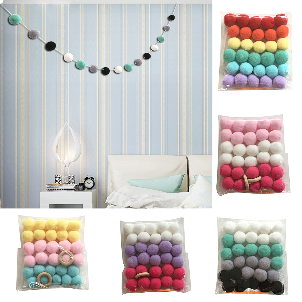 Girl12Queen Nordic Style Colorful Pom Pom Ball Hanging Garland Birthday Party Nursery Decor