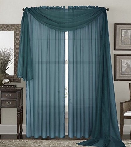"Qutain Linen Solid Viole Sheer Curtain Window Panel Drapes Set of Two (2) 55"" x 95 inch - Slate Blue"