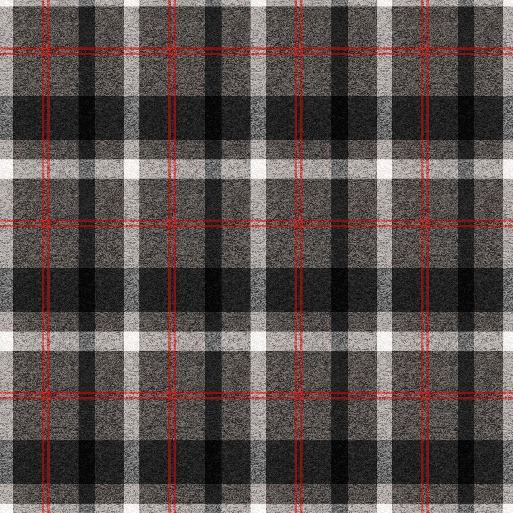 Flannel Plaid Black Grey Red