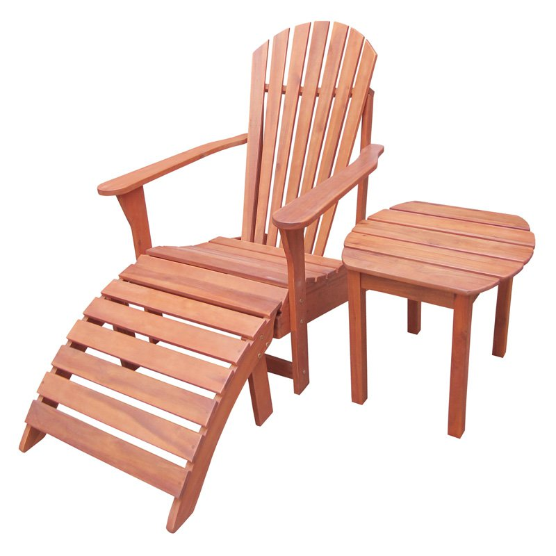 International Concepts Adirondack Chair with Side Table and Footrest - 3 pc. Set