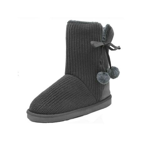 - VLARA Women's Faux Fur Sheepskin Bow Winter Boots