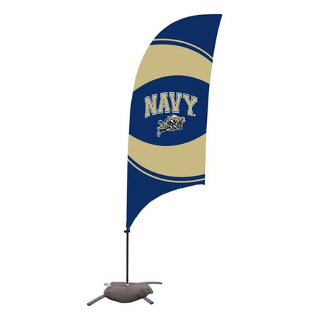 Victory Corps 810029NAVY-003 7.5 ft. Navy Midshipmen Razor Feather NCAA Flag with Cross Base - No.003