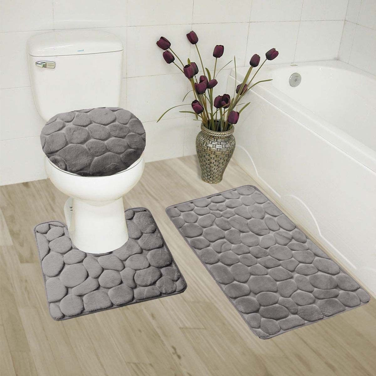 "ROCK GREY 3-Piece Embossed Bathroom Rug Set Super Soft Memory Foam Bath Mat, Rug 19""x 30"", Contour Mat 19""x19"" and Toilet Lid Cover 19""x19"" with Non-Skid Rubber Back"