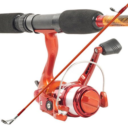 South Bend Worm Gear Fishing Rod and Spinning Reel, Orange Combo