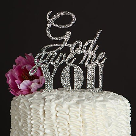 God Gave Me You Wedding Cake Topper, Silver Religious Christian Party Decoration ()