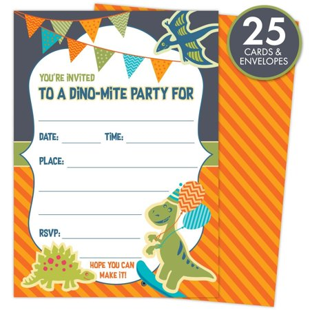 Dinosaur Party Invitations For Kids Birthdays Or Baby Showers Set Of 25 Cards And Envelopes Colorful Fill In Style Boys Girls 5 X
