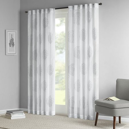 Genia Sheer Branch Flocking Window Curtain Grey 95 Panel, Soft and easy to work with, our sheer branch flocking window panel will help to air.., By Madison Park