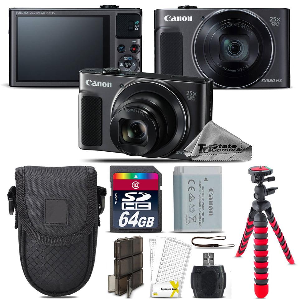 Canon PowerShot SX620 HS Point & Shoot Camera (Black) + Tripod + Case - 64GB Kit