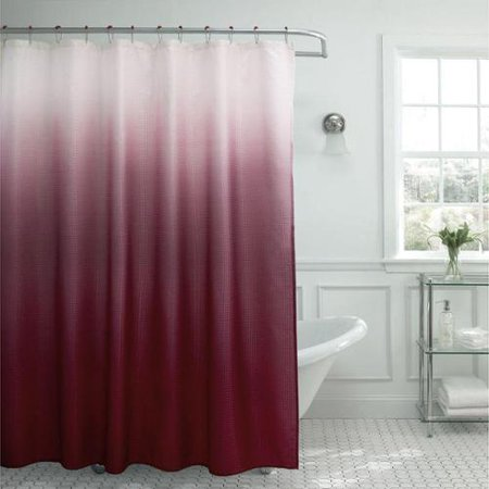 Modern Ombre Waffle Weave Shower Curtain With Matching Metal Roller Rings