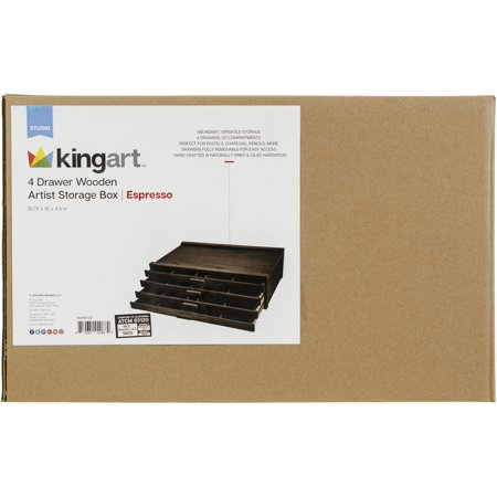 KINGART™ Wooden Artist Storage Box, 4 Drawer, Espresso Finish (Wooden Crate Finished)