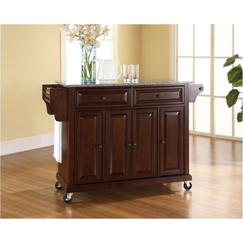 Bowery Hill Solid Granite Top Kitchen Cart in Mahogany