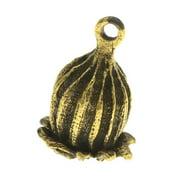 Nunn Design Antiqued Gold Plated Large Poppy Pod Focal Pendant 29mm (1)
