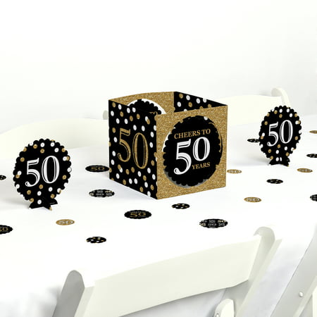 Adult 50th Birthday - Gold - Birthday Party Centerpiece & Table Decoration Kit - 50th Birthday Party Favors Ideas