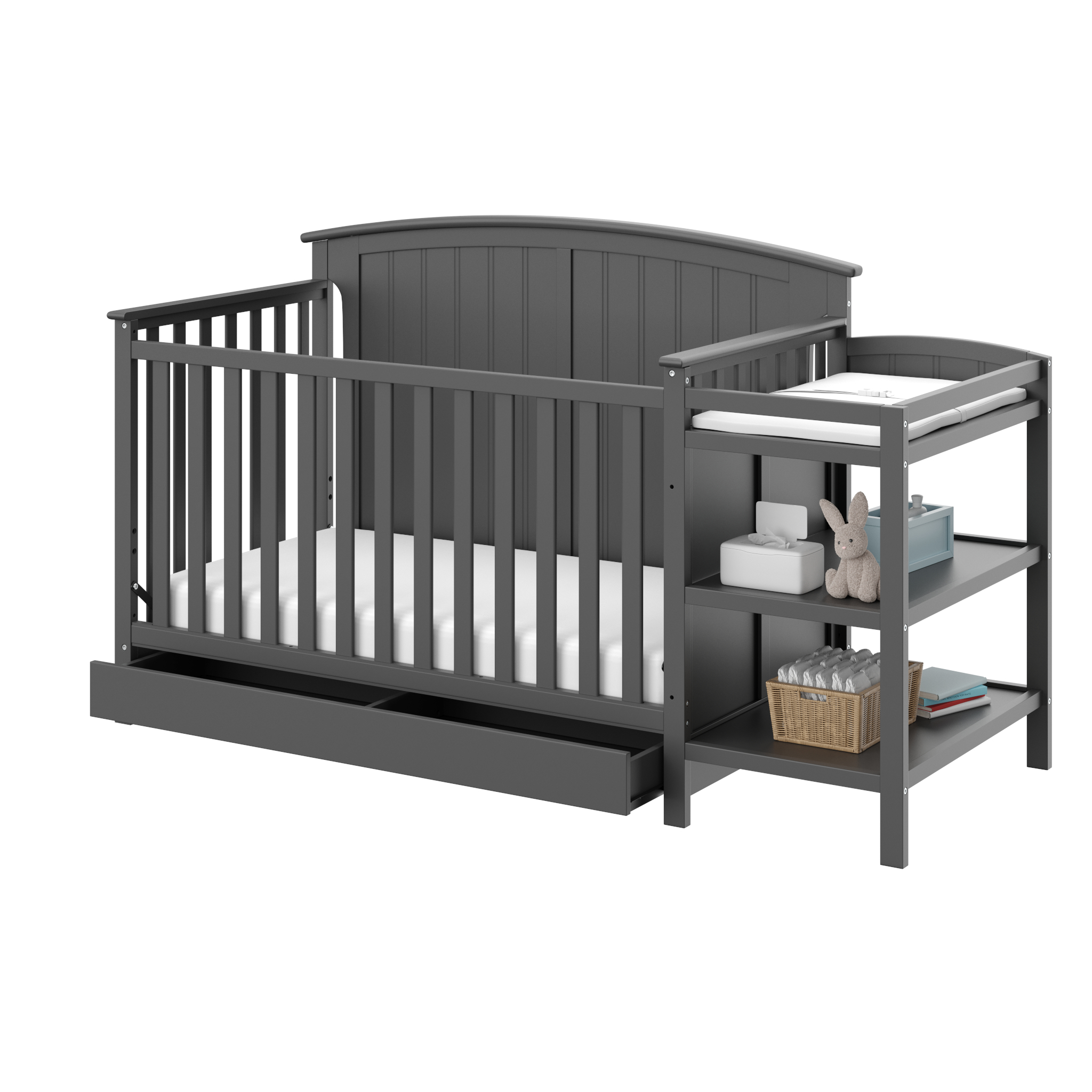Storkcraft Steveston 4 in 1 Crib and Changer with Drawer Gray
