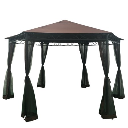 "Christopher Knight Home Duke Outdoor 10' 5"" by 10' 5"" Water Resistant Fabric and Steel Gazebo by  Brown"