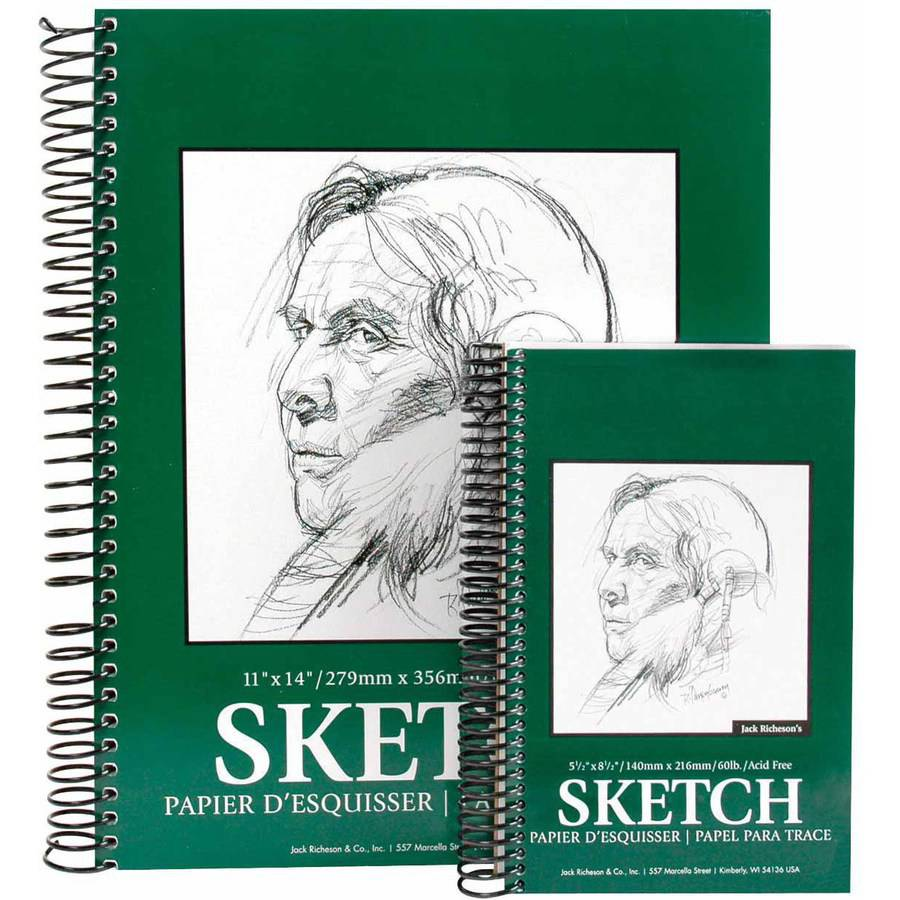Jack Richeson Spiral Bound Sketch Pad, 60 Pound, Multiple Sizes, White, 100 Sheets