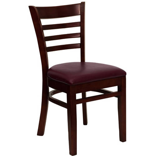 Ladder Back Chairs - Set of 2, Mahogany / Burgundy Vinyl Seat