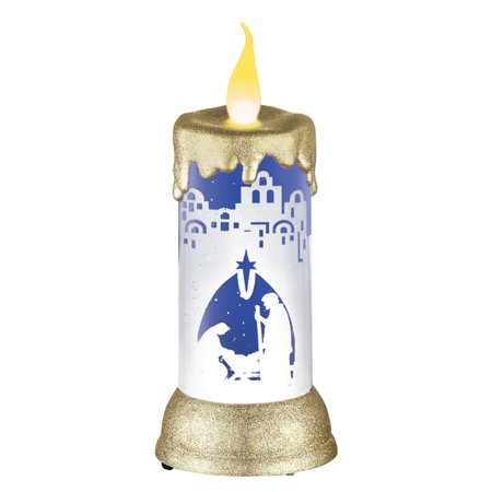 (LED Nativity Scene Snow Globe Candle)