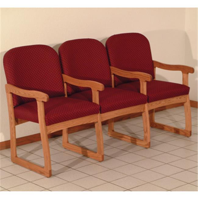 Wooden Mallet Prairie Three Seat Chair with Center Arms in Medium Oak - Arch