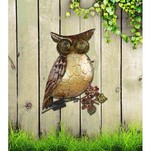 Moonrays 92341 Solar Powered White LED Owl Wall Art