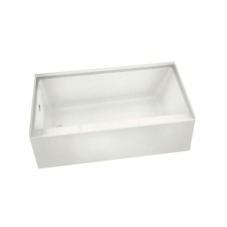 MAAX 105815-L-000-001 Rubix Rectangular Acrylic Soaking Bathtub with Left Hand Drain, Integrated Tiling Flange and Skirt, White