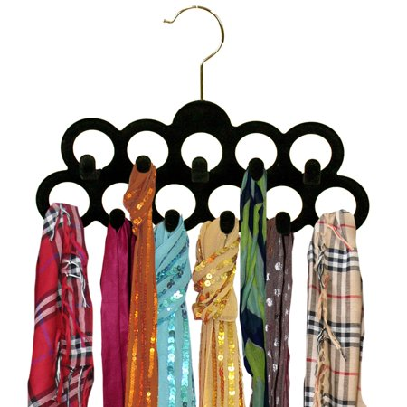 BED BATH N MORE Black Velvet Scarf Hanger with Hooks (3-pack) - Bed And Bath Store