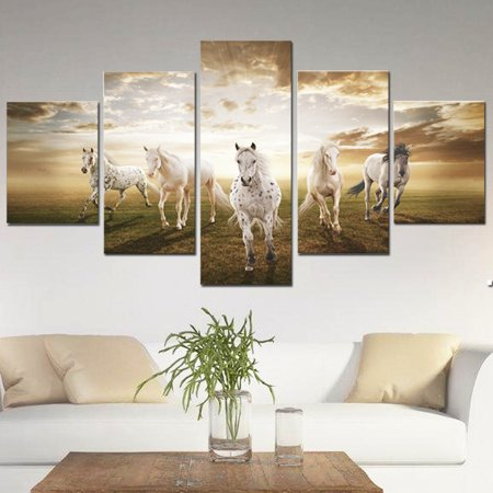 5Pcs Modern Abstract Oil Painting Prints Canvas Running Horse Picture Home Wall Art Decor Sticker Gift No Frame ()