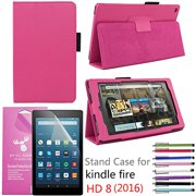 "2016 Amazon Fire HD 8"" Case, EpicGadget(TM) Auto Sleep/Wake Premium PU Leather Folding Folio Case For (6th Generation)Fire HD 8, 8"" HD Display Tablet + Screen Protector + 1 Random Stylus (Hot Pink)"