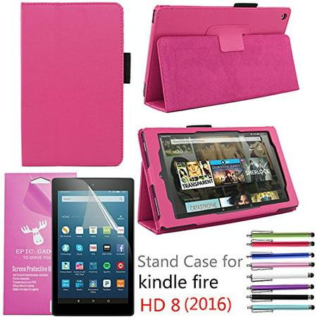 2016 Amazon Fire Hd 8  Case  Epicgadget Tm  Auto Sleep Wake Premium Pu Leather Folding Folio Case For  6Th Generation Fire Hd 8  8  Hd Display Tablet   Screen Protector   1 Random Stylus  Hot Pink