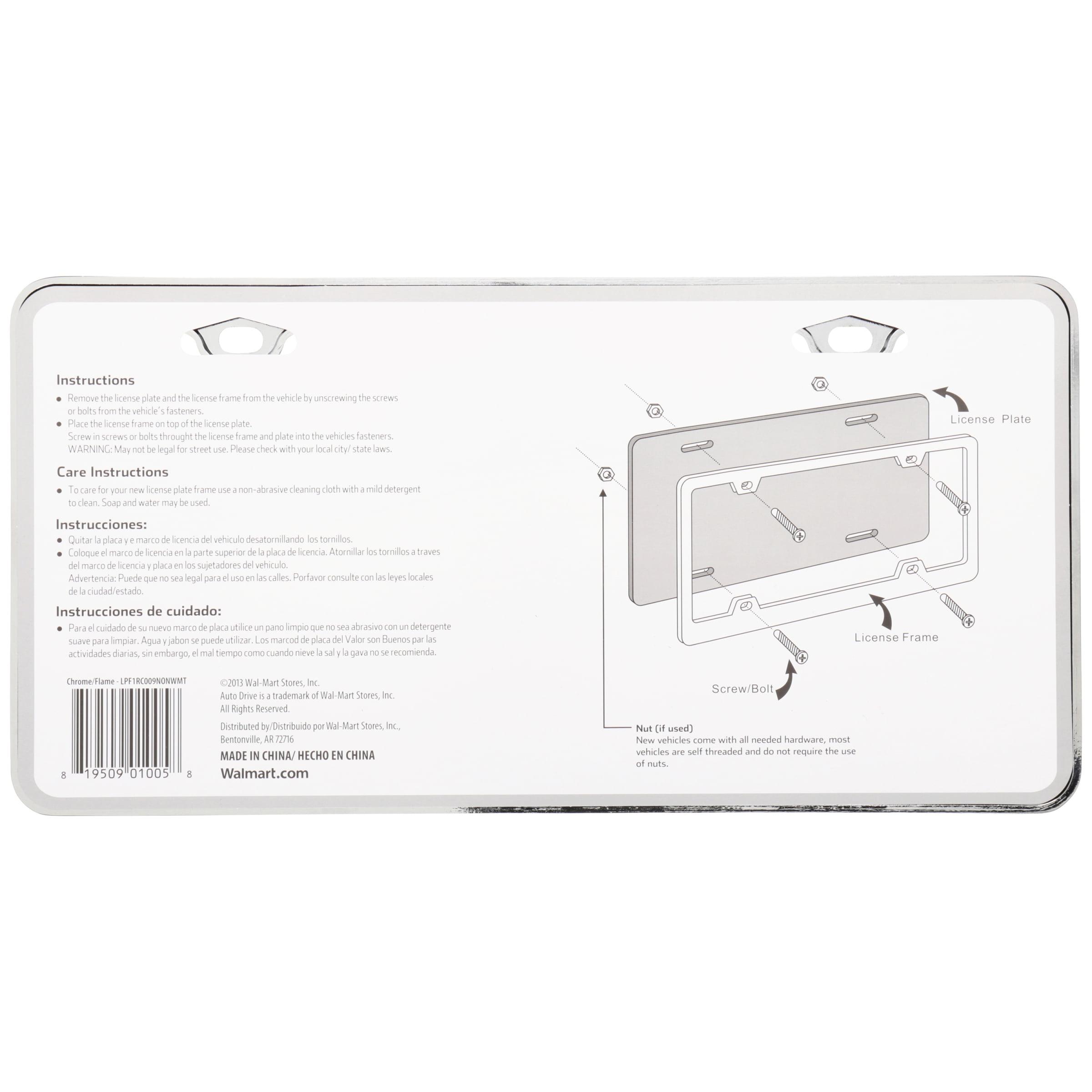 Auto Drive™ Universal License Plate Frame - Walmart.com