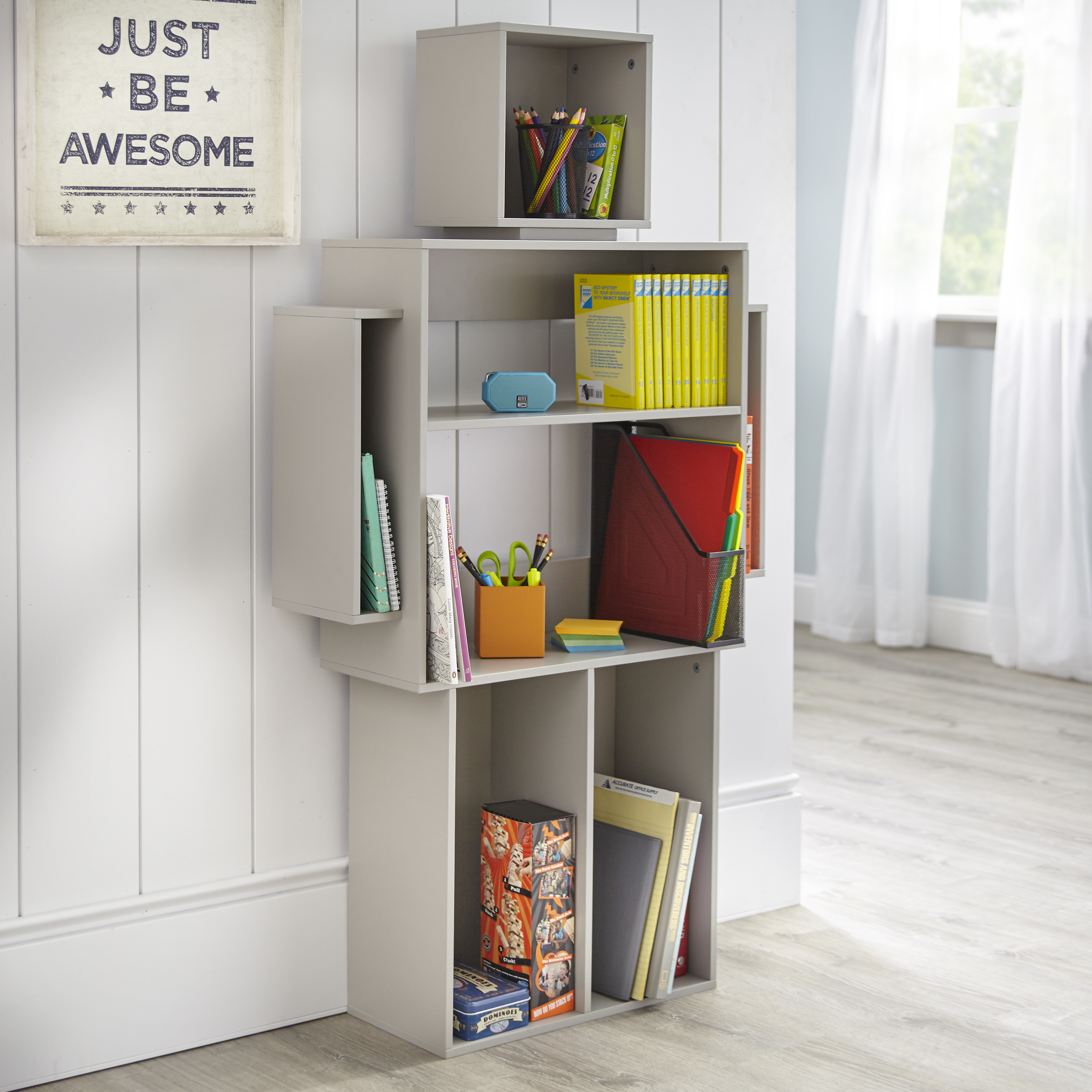 Mainstays Kids Robot Shaped Bookshelf Robot Gray Color Walmart Com