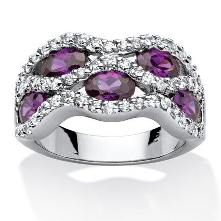 3 36 Twc Purple Oval Cut Cubic Zirconia Ribbon Weave Ring Rhodium Plated
