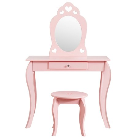 Costway Kids Vanity Set Princess Makeup Dressing Play Table Set W Mirror Pink Walmart Canada