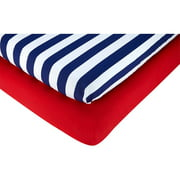 Little Bedding by Nojo Polyester Fitted Crib Sheets, Red/Navy Stripes 2pk