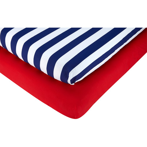 Little Bedding by Nojo On the Go 2-Pack Crib Sheet, Boy
