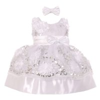 Baby Girls White Floral Sequin Embroidered Headband Flower Girl Dress