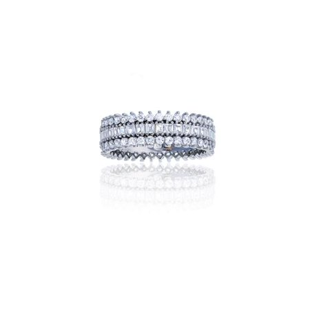 YGI SZR5310W2W-05 Sterling Silver Rhodium 6 mm. 3-Row Pave Eternity Ring, Size - 5 - image 1 of 1