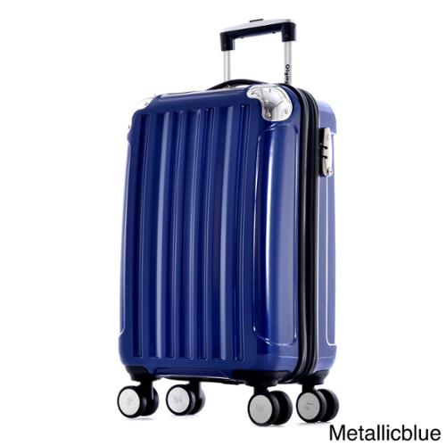 Olympia 'Stanton' 25-inch Medium Hardside Spinner Upright Suitcase Metalic Blue