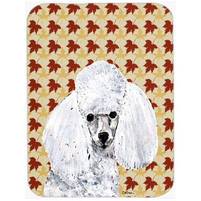 White Toy Poodle Fall Leaves Mouse Pad, Hot Pad Or Trivet, 7.75 x 9.25 In.
