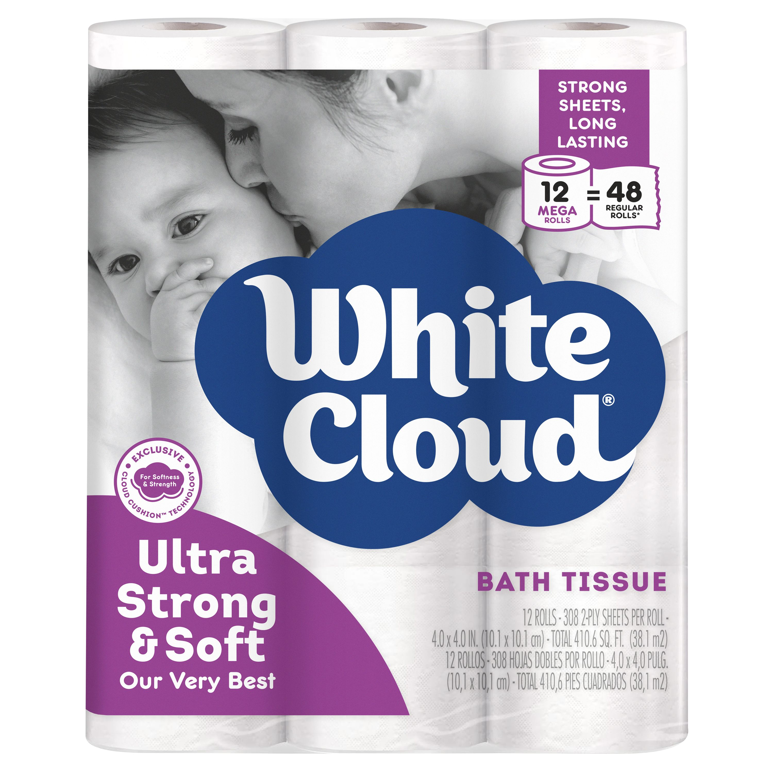 White Cloud Ultra Strong & Soft Toilet Paper, 12 Mega Rolls