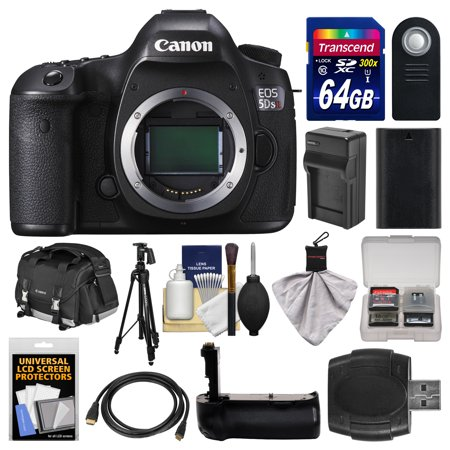 Canon EOS 5DS R Digital SLR Camera Body with 64GB Card + Case + Battery & Charger + Grip + Tripod + Remote + Kit