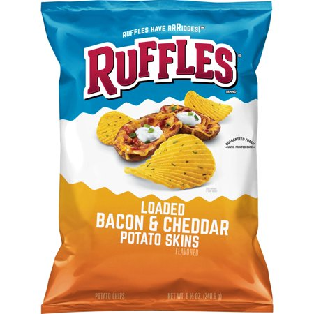 Ruffles Loaded Bacon & Cheddar Potato Skins Potato Chips, 8.5 oz Bag