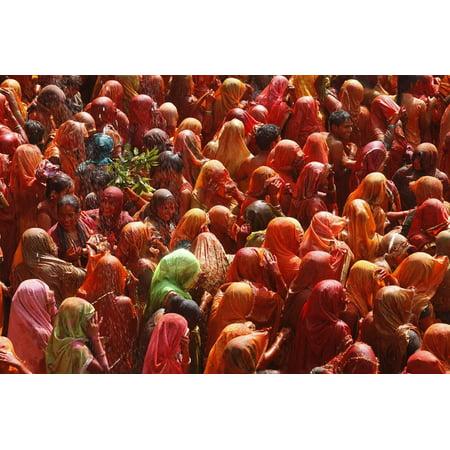 Holi Celebration in Dauji Temple, Dauji, Uttar Pradesh, India, Asia Print Wall Art By