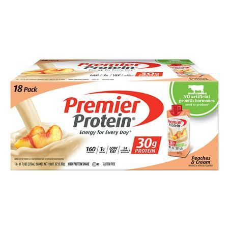 Premier Protein Hormone Free Shakes 11 Fl  Oz   18 Pack Peach