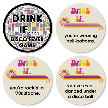 Drink If Game - 70's Disco - 1970's Disco Fever Party Game - 24 Count