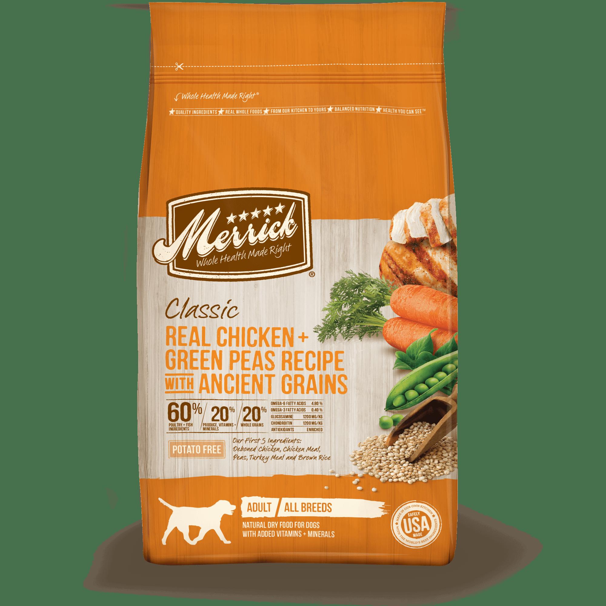 Merrick Classic Real Chicken, Green Peas + Ancient Grains Dry Dog Food, 25 lb