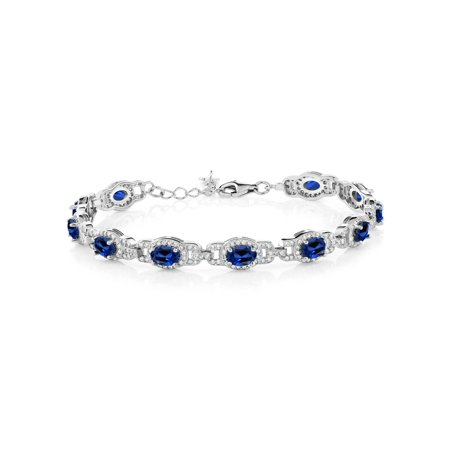 10.20 Ct Oval Blue Simulated Sapphire 925 Sterling Silver Bracelet