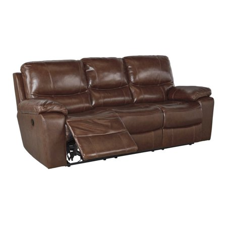 Ashley penache power reclining leather sofa in saddle for Affordable furniture 3 piece sectional in wyoming saddle