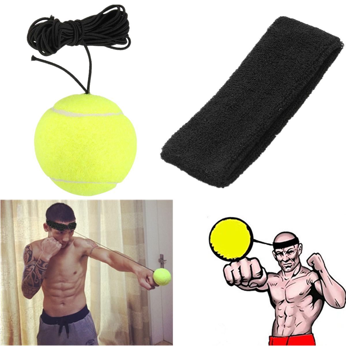 Training Speed Boxing Punching Exercise Fight Ball Reflex Gloves Ball Band Sets