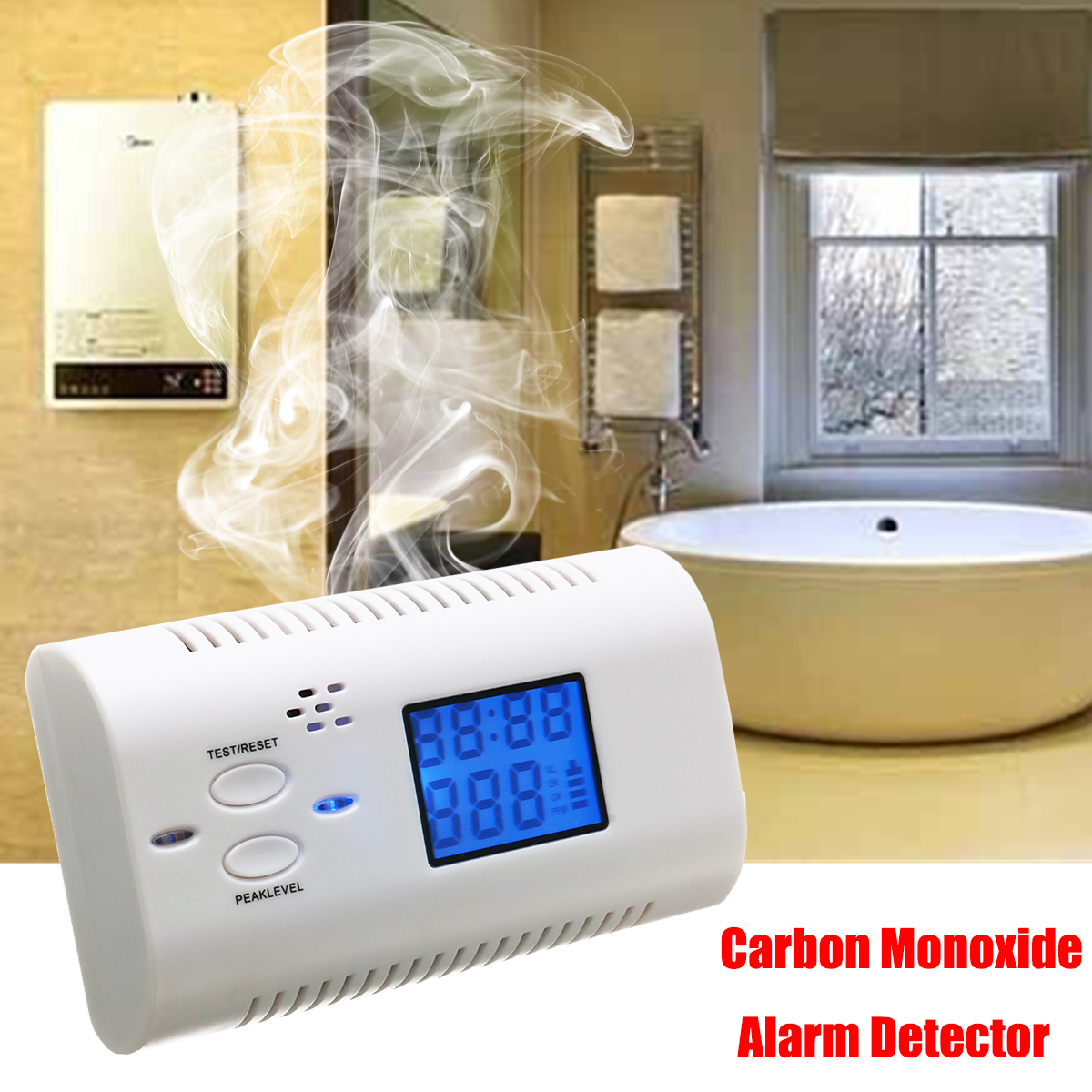 4/3/2/1 pcs LCD Display Electrochemical CO Carbon Monoxide Detector Fire Alarm Poisoning Gas Warning Sensor Home Safety